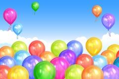 La frontière de l'hélium coloré réaliste monte en ballon sur le ciel illustration de vecteur