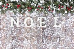 La frontière de Noël avec la neige a couvert le sapin et les baies rouges Images libres de droits