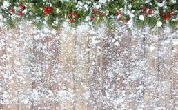 La frontière de Noël avec la neige a couvert le sapin et les baies rouges Photographie stock libre de droits