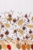 La frontière des épices en poudre colorées en cuillères en bambou et étoile dispersée d'anis, clou de girofle, baie part photographie stock libre de droits