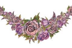 La frontière sans couture est une guirlande des fleurs Lilas de pivoines de roses watercolor illustration de vecteur