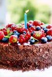 La fruta adornó la torta de chocolate triple Fotografía de archivo