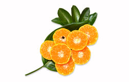 La fruta anaranjada en las hojas texturiza, aislado en el fondo blanco Imagen de archivo libre de regalías