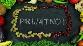 La fruta bosnio de Prijatno para el movimiento, en apetito inglés del Bon imagen de archivo