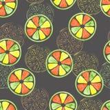 La fruta cítrica corta el modelo inconsútil colorido stock de ilustración