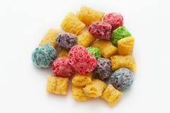 La fruta coloreada coloca el cereal Fotos de archivo