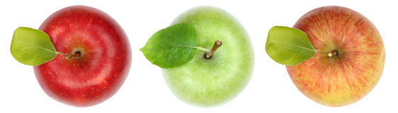 La fruta de la manzana de las manzanas da fruto visión superior aislada en blanco Fotografía de archivo libre de regalías