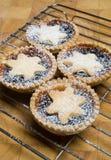 La fruta pica a las tartas para el día de la Navidad en el estante de enfriamiento y la tajadera Fotos de archivo libres de regalías