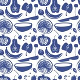 La fruta siluetea el modelo en color azul stock de ilustración