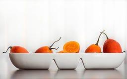 La fruta tropical exótica del betaceum- de la solanácea llamó el tomate de árbol con el fondo blanco imagen de archivo