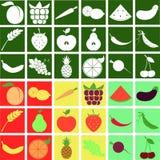 La fruta y verdura estilizó el sistema vegetariano del icono Fotos de archivo libres de regalías
