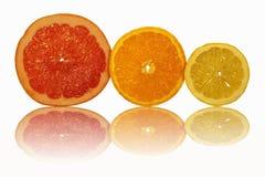 La frutta affettata e la loro riflessione Fotografia Stock