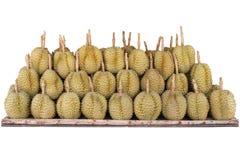 La frutta del Durian sistemata sullo scaffale di legno ha isolato il fondo bianco immagini stock