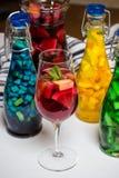 La frutta dell'estate ha dipinto i cocktail, la limonata, vino in vetro, foto dello studio Immagine Stock