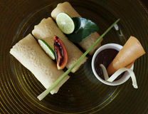 La frutta drappeggia con crespo l'alimento asiatico Fotografia Stock Libera da Diritti