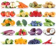 La frutta e la raccolta delle verdure hanno isolato il Cu arancio dell'uva della mela Immagini Stock