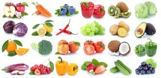 La frutta e la raccolta delle verdure hanno isolato l'uva arancio le della mela Immagine Stock Libera da Diritti