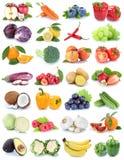 La frutta e la raccolta delle verdure hanno isolato le banane arancio t della mela Fotografie Stock