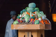 La frutta e la verdura in una cerimonia di nozze giapponese a Meiji-jingu shrine Immagine Stock Libera da Diritti