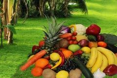 La frutta e le mele delle verdure hanno isolato l'ananas bianco, peperoni delle carote delle patate dell'uva della fragola Immagine Stock Libera da Diritti