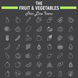 La frutta e le verdure assottigliano la linea insieme dell'icona Fotografie Stock Libere da Diritti