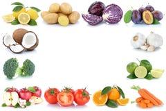 La frutta e le verdure incorniciano il vegeta del limone dei pomodori delle arance delle mele Immagini Stock