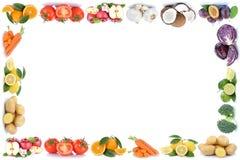 La frutta e le verdure incorniciano la verdura FO dei pomodori delle arance delle mele Immagini Stock