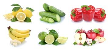 La frutta e la raccolta delle verdure hanno isolato i limoni delle banane di mele Fotografie Stock Libere da Diritti