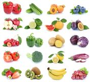 La frutta e la raccolta delle verdure hanno isolato il berrie dei pomodori delle mele immagine stock libera da diritti