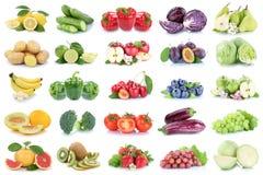 La frutta e la raccolta delle verdure hanno isolato il cabbag dei pomodori delle mele Fotografie Stock Libere da Diritti