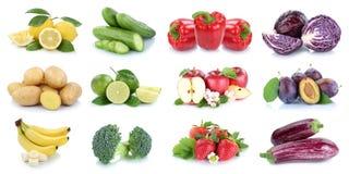 La frutta e la raccolta delle verdure hanno isolato le fragole le delle mele Immagine Stock Libera da Diritti
