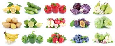 La frutta e la raccolta delle verdure hanno isolato le fragole le delle mele Fotografia Stock Libera da Diritti