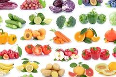 La frutta ed il fondo della raccolta delle verdure hanno isolato il lemo delle mele Immagine Stock Libera da Diritti