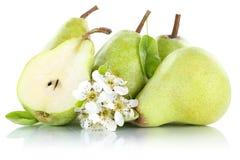 La frutta fresca della fetta della pera delle pere fruttifica verde isolata su bianco Fotografia Stock