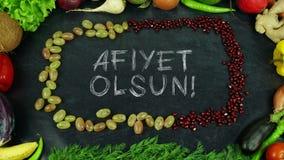 La frutta turca del olsun di Afiyet ferma il moto, in inglese il appetit di Bon Fotografie Stock Libere da Diritti