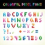 La fuente colorida del pixel Fotografía de archivo