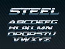 La fuente de acero, letras del metal fijó, alfabeto del cromo, letras de plata del vector, fuente mayúscula del itálico intrépido ilustración del vector