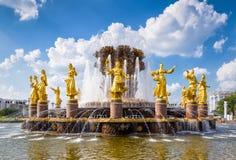 La fuente de la amistad de la gente en el parque de VDNKh, Moscú Imágenes de archivo libres de regalías
