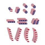 La fuente de la bandera de los E.E.U.U. texturizó signos de puntuación de la letra 3d Imagen de archivo libre de regalías