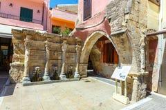 La fuente de Rimondi en el centro de la ciudad vieja de Rethymnon, Grecia Fotografía de archivo libre de regalías
