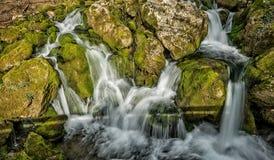 La fuente del río que hace las cascadas sobre rocas cubrió ingenio Fotografía de archivo libre de regalías