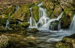 La fuente del río que hace las cascadas sobre rocas cubrió ingenio Imágenes de archivo libres de regalías