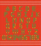 La fuente del remiendo de las puntadas, Vector el alfabeto abigarrado colorido para su diseño y texto Imagen de archivo libre de regalías