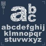 La fuente floral, alfabeto minúsculo del vector a mano pone letras a decoros stock de ilustración