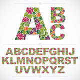 La fuente floral, las letras capitales del alfabeto del vector a mano adorna Fotografía de archivo