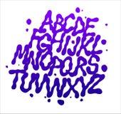 La fuente líquida con salpica Alfabeto del vector Imagen de archivo libre de regalías