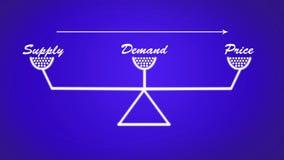 La fuente, la demanda y el precio escalan el ejemplo en fondo azul libre illustration
