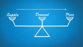 La fuente, la demanda y el precio escalan el ejemplo en fondo azul claro stock de ilustración
