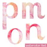 La fuente rosada de la acuarela de la primavera letra M N O P ilustración del vector