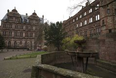 La fuente y la opinión del castillo de Heidelberg del jardín foto de archivo